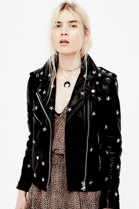 Black Real Leather Jacket Featuring Front Zipper and Star Studs Detailing