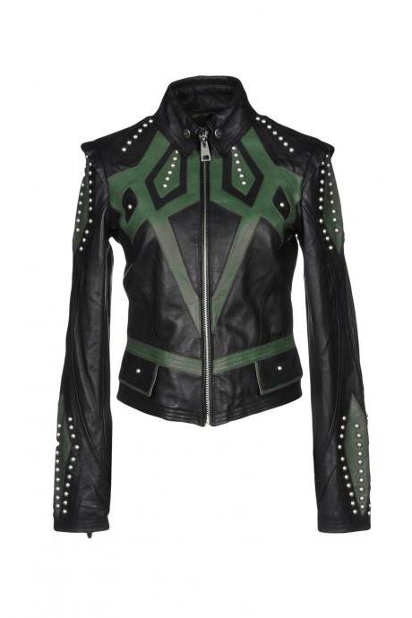 Burnished Black Green Motor Biker Leather Jacket Silver Studded Front Zipper