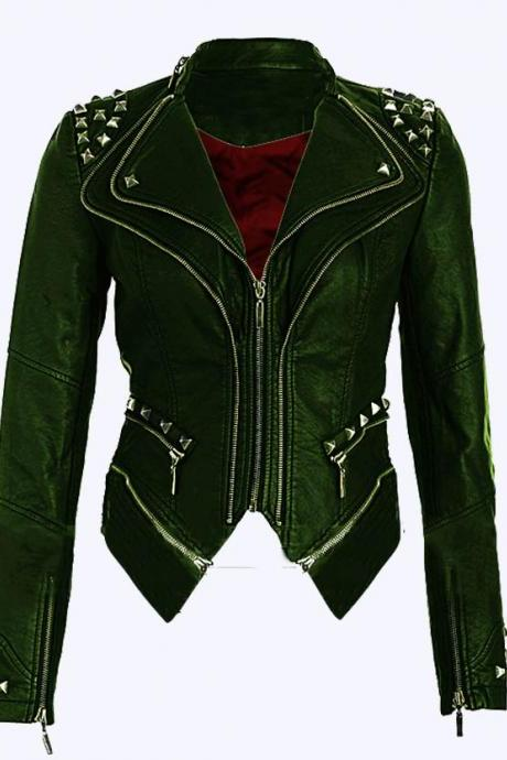Women Green Color Stylish Genuine Leather Jacket Silver Studded Hand Stitched
