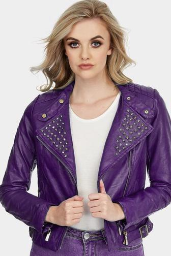 Women Purple Color Short Body Genuine Leather Jacket Black Studded Slim Fit