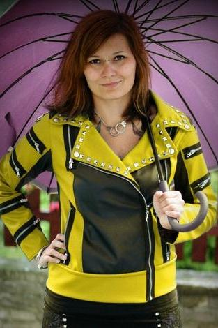 Two Tone Black Yellow Women Genuine Leather Jacket Silver Studded Brando Style