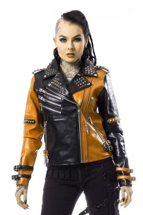 Two Tone Women Black Orange Real Leather Jacket Silver Studs Buckle Strap On Arm