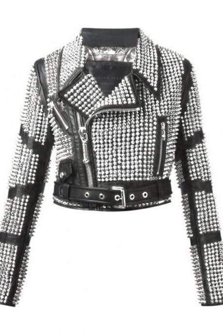Hand Made Women Black Elegant Real Leather Jacket Full Silver Studs Belted Waist