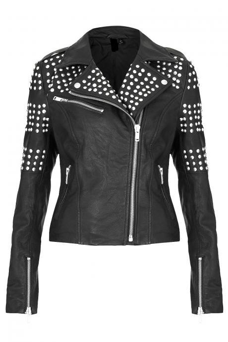 Hand Made Women Black Genuine Real Biker Leather Jacket Silver Studs Slim Fit