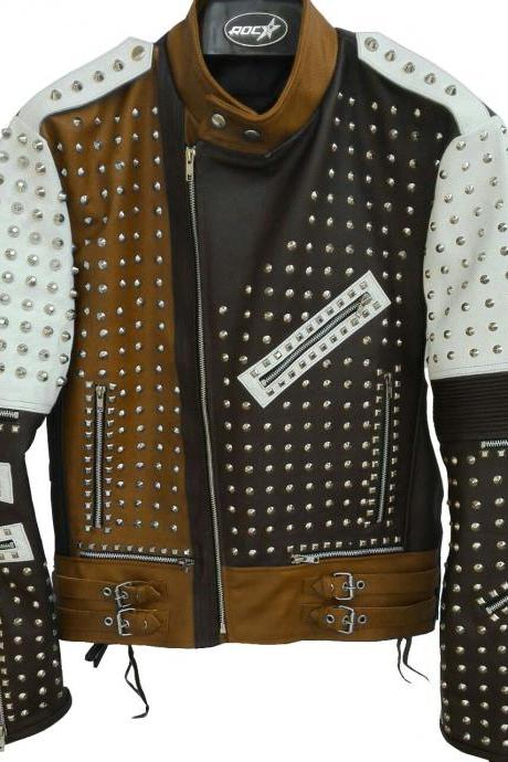 Two Tone Black & Brown Genuine Biker Leather Jacket Full Silver Studded For Men