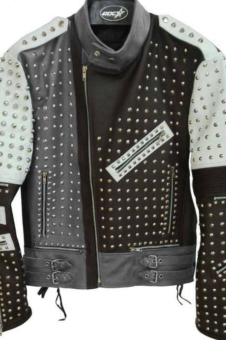 Two Tone Black & Gray Genuine Biker Leather Jacket Full Silver Studded For Men