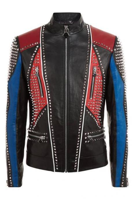 Men Multi Color Genuine Biker Leather Jacket Silver Studs Front Zipper Hand Made