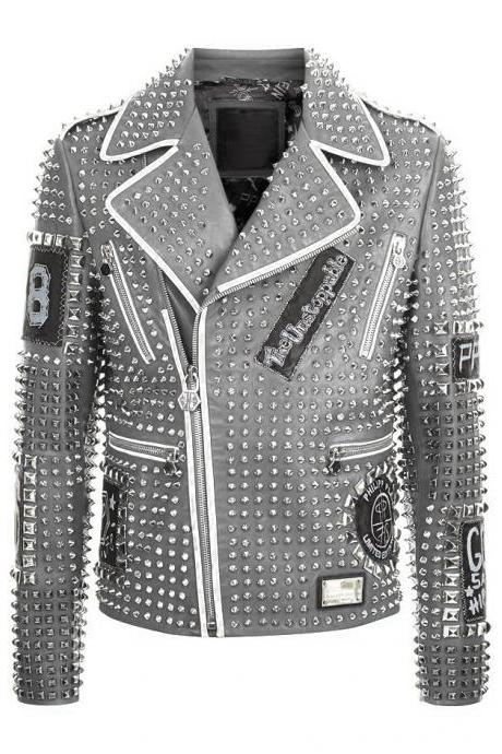 Hand Crafted Men Silver Color Genuine Biker Leather Jacket Full Silver Studded