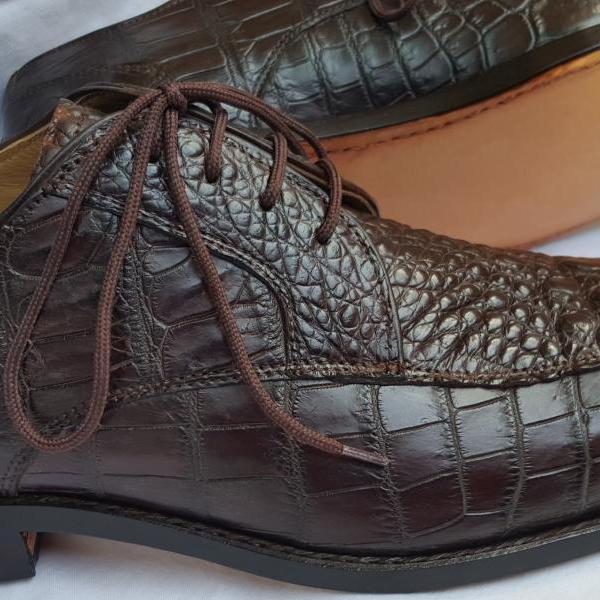 Designor made Limited Edition Matchless Men Brown Oxford Geniune Crocodile Belly Leather Laceup Shoes in US Size 9, 8.5
