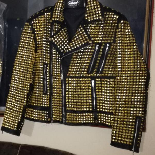 NEW WOMAN PHILIP PLEIN GOLDEN FULL STUDDED LEATHER JACKET HANMDADE XS TO 6XL All sizes Available