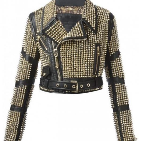 Handmade Woman Black Color Full Gold Studded Genuine Leather Jacket