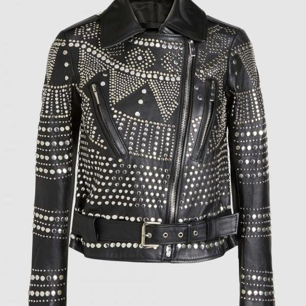 Handcrafted Women Studded Black Leather Jacket