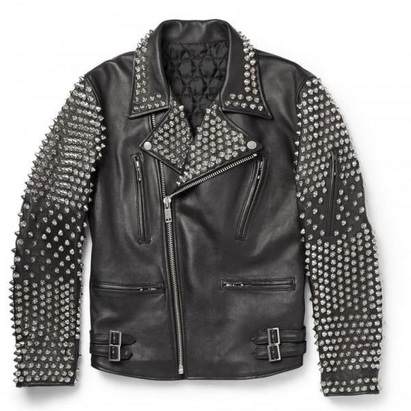 Made To Order Mens Item Silver Studded Black Color Genuine Leather Jacket