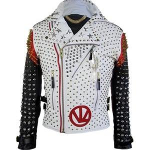 Men's Handmade Victor Luna Full Studded White Black Contrast Leather Jacket
