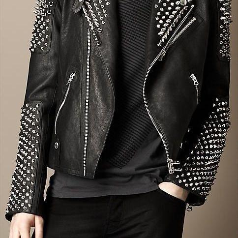 Made To Order Men's Silver Studded Steam Punk Biker Black Genuine Leather Jacket