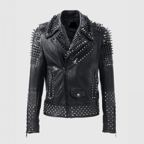 Handmade Men's Philipp Plein Silver Studded Black Brando Zipper Leather Jacket