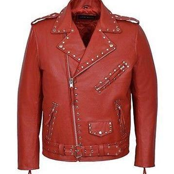 Handmade Men's Silver Studded Brando Red Premium Leather Jacket