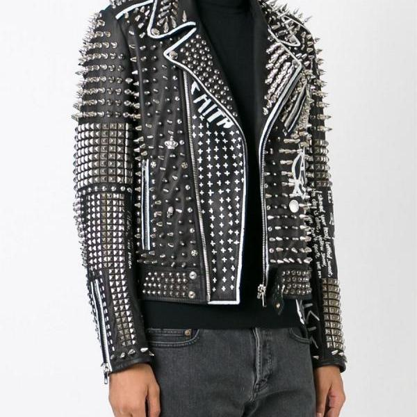 Handcrafted New Item For Men's Black Color Silver Studded Genuine Leather Jacket