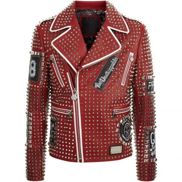 Men Philipp Plein Full Studded Red Genuine Leather Jacket