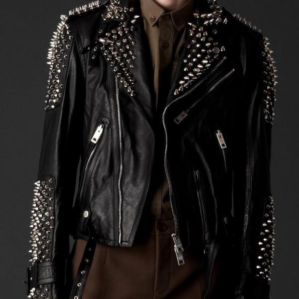 Men's Silver Studded Steam Punk Black Premium Leather Jacket