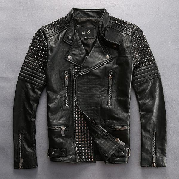 New Men's Design Silver Studded Genuine Lambskin Leather Jacket