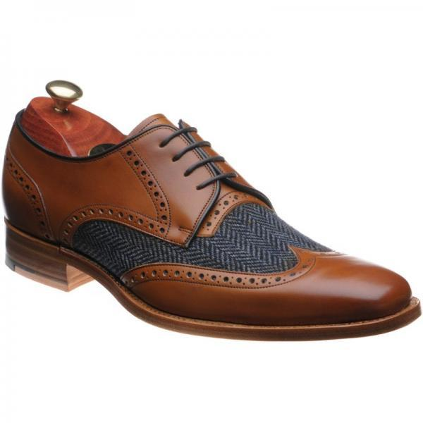 Customized Handmade Men's Tan Brown Calf Blue Tweed Plain Toe Genuine Leather Lace up Shoes