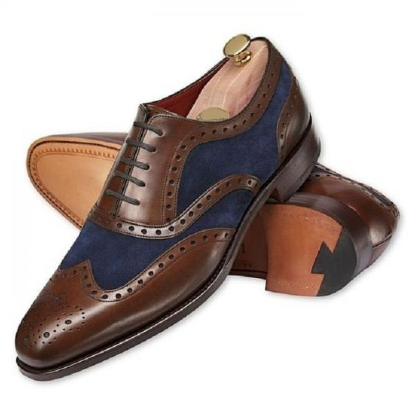 Made To Order Men's Two Tone Wingtip Brown Brogue Toe Blue Suede Leather Lace up Shoes