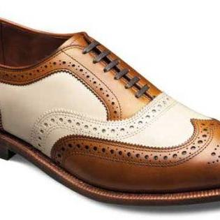 Oxford Leather Lace Up Shoes Two Tone Wing Tip Full Brogue Toe