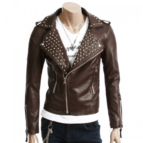 Brown Real Motor Biker Genuine Leather Jacket Silver Studs Brando Style For Men