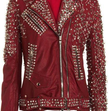 Women Maroon Genuine Leather Jacket Full Golden Studded Casual Wear Customized