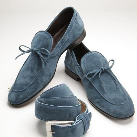 Genuine Suede Leather Blue Moccasin Party Wear Loafer Slip Ons for Men's