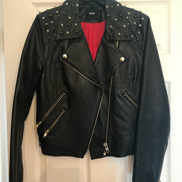 Customized Women Black Genuine Real Leather Jacket Golden Studded Front Zipper