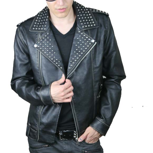 Black Color Men Genuine Classical Leather Jacket Silver Studded Front Zipper