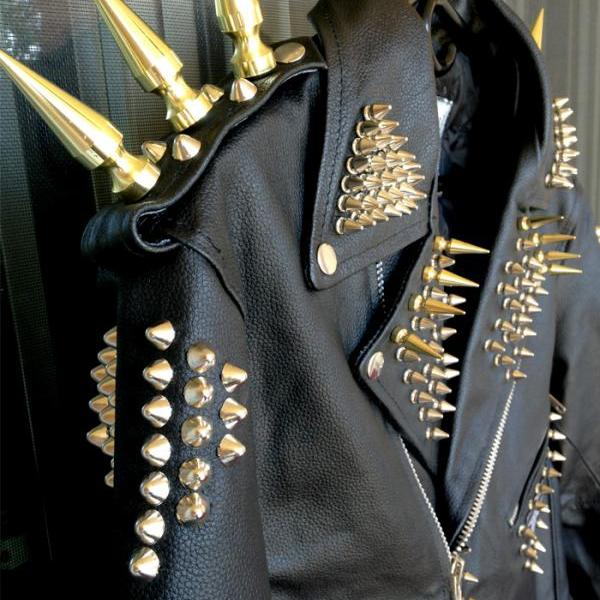Customized Men Black Genuine Elegant Leather Jacket Long Golden Spiked Studded