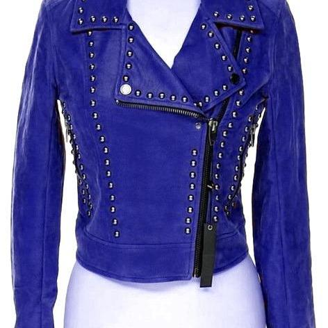 Blue Color Genuine Classical Leather Jacket Black Studded Front Zipper For Men